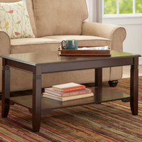 Classic Coffee Table Tapered Legs Carved Details Home Furniture Espresso Finish