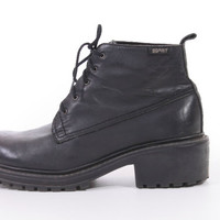 90s Esprit Leather Chunky Platform Ankle Boots Lace Up Hipster Goth Vintage Shoes Womens Size US 8 UK 6 EUR 38-39