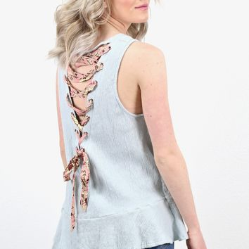 Ruffle Hem + Floral Lace Up Back Tank {L. Blue}