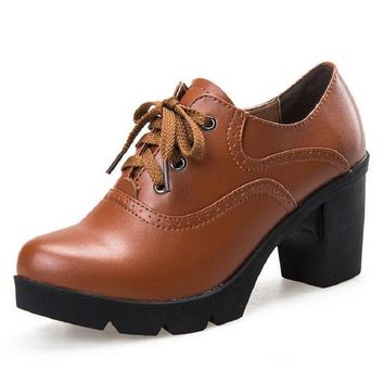 Hot Selling Vintage Lace Up Oxford Shoes For Women
