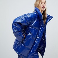 Monki Patent Padded Coat at asos.com