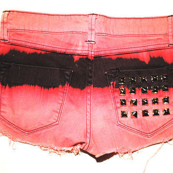 Tie Dye Studded Indie Hipster Shorts XS