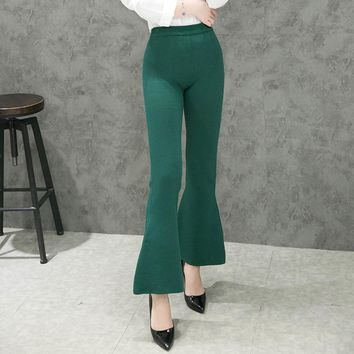 High Quality Winter Fashion Women Causal Bell Bottom Pants Knit Thick Slim Flare Pants