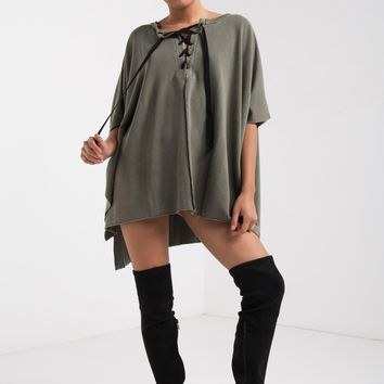 AKIRA Short Sleeve Loose Fit Lace Up Front V Neck Fleece Lined Top in Olive