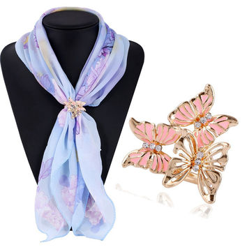 Butterfly Brooches  Gold Crystal Scarf Clip