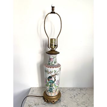 Mid-Century Chinese Porcelain Floral Table Lamp