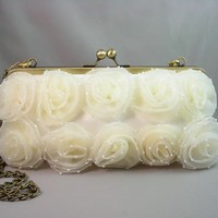 Ivory XL Bridal Clutch With Brass C.. on Luulla