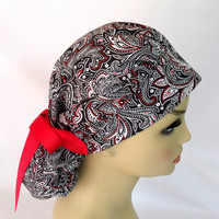 Bouffant Women's Surgical Scrub Hat or Cap Paisley in Black and Red