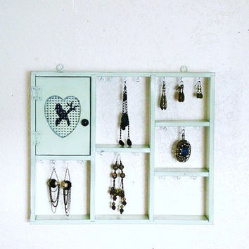 Beautiful shabby chic sea foam green/celery green revamped and upcycled wood spice rack Jewelry display/Organizer
