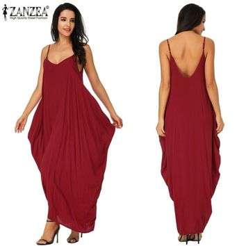 ZANZEA Vestidos Oversized 2018 Summer Women Boho Strapless Sexy V Neck Sleeveless Dress Casual Long Maxi Dress Solid Vestidos