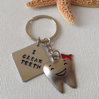I clean teeth keyring, only 1 available, dental hygienist keyring, tooth and handstamped disc, gifts for dental hygienist
