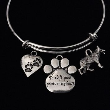 You Left Paw Prints on My Heart Memorial German Shepard Dog Adjustable Bracelet Expandable Charm Bangle Meaningful Dog Lover Gift