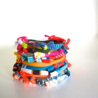 Bright Colors Bracelet Stack Upcycled Multicolor Hand Knotted Fiber Bracelet Eco Friendly Jewelry Knotty Bits Cuff  Gifts Under 25
