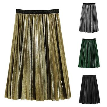 Women Silver Metallic Skirt Women Skirt  A Life High Metallic Pleated Skirt Party Club Skirt