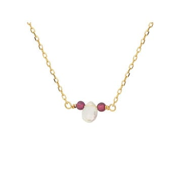 Fronay Collection 18k Gold Pl Silver Briolette Rutilated Quartz & Mini Garnet Necklace, 16""
