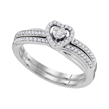 10kt White Gold Womens Round Diamond Heart Bridal Wedding Engagement Ring Band Set 1/4 Cttw