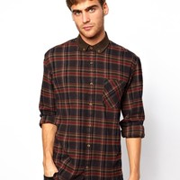 Selected Flannel Shirt With Cord Collar And Cuffs