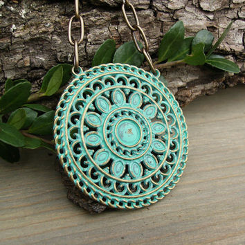 Turquoise Patina Medallion Necklace, Large Round Brass Filigree Pendant, Large Link Brass Cable Chain, Bohemian Jewelry, Boho Chic Style
