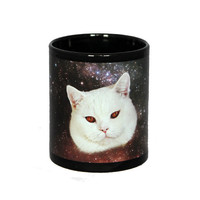 Black classic mug with space cat print