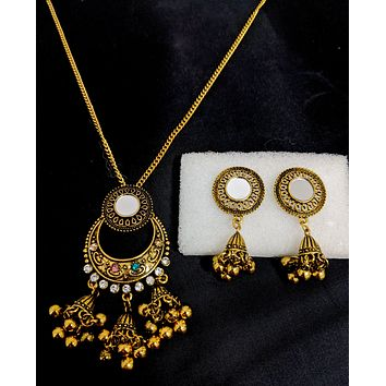 Mirror work Antique gold finish triple jhumka hanging pendant chain necklace and jhumka earring set