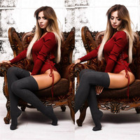 Tights Side Tie Up Bodycon Bodysuit Women Sexy Bodysuits Long Sleeve V Neck Solid Slim Body Tops M0652