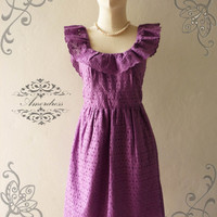 Amor Vintage Inspired Butterfly Pastel Bella Purple Lace Dress Wedding Prom Party Dress for Any Occasion - Size XS-S-