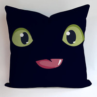 Toothless Night Furry Pillow, Pillow Case, Pillow Cover, 16 x 16 Inch One Side, 16 x 16 Inch Two Side, 18 x 18 Inch One Side, 18 x 18 Inch Two Side, 20 x 20 Inch One Side, 20 x 20 Inch Two Side