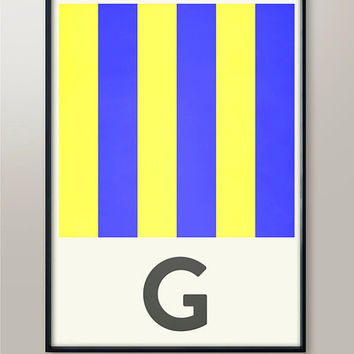 Nautical Alphabet Print, Letter G, Naval Flags, Naval Signal, Nautical Art, Nautical Sign, Navy Sign, Martime Codes, Maritime Flag, Decor
