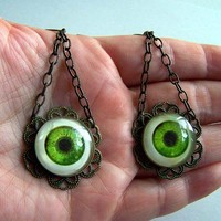 Green Human Eye Goth Victorian Antique Brass Filigree Flower Earrings