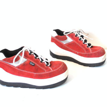 PLATFORM sneakers vintage 80s 90s CLUB KID red suede Candies platforms