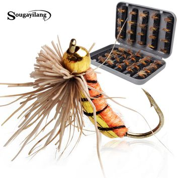 Sougayilang 40pcs/lot Trout Nymph Fly Fishing Lure Fishing Tackle 3 Colors Fly Fishing Flies with Box Carp Artificial Fish Bait