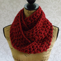 Ready To Ship Infinity Scarf Crochet Knit Cranberry Dark Red Women's Accessories Eternity Fall Winter