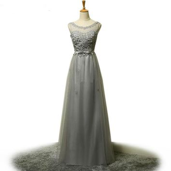 Cap sleeve silver pearl flowers long prom dresses a line evening dress floor length lace up back long party dresses