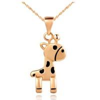 Rose Gold Plated Cute Giraffe Pendant Necklace