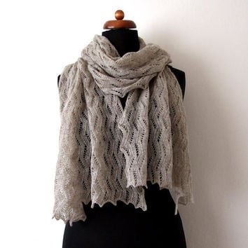 knit lace stole, dark oatmeal shawl, knitted wool wrap