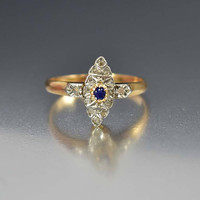 French 14K Gold Sapphire Mine Cut Diamond Ring