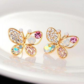 Pair of Rhinestone Fake Pearl Butterfly Earrings - Golden