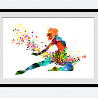 Ballerina colorful poster, watercolor ballerina print, ballet dance studio decor, home decoration, kids room art, wall hanging poster, W123