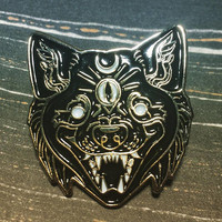 The All-Seeing 3 Eyed Wolf Enamel Pin