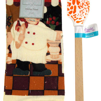 "Kitchen Towel Chef Cafe Scene 15""x25"" Orange White Silicone Spatula Gift Set 2"