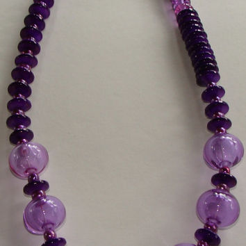 Purple Bead Necklace, Hand Blown Hollow Glass Beads, Sea Shells, Beaded Pearls, Solid Silver, Statement Strand