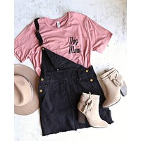 belle of the playground - black denim bib overall dress