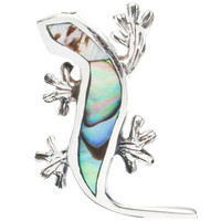 Lizard With Abalone Inlay Sterling Silver Pendant