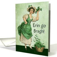 Retro Woman with Flower Pot and Shamrocks for St. Patrick's Day card