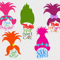 Trolls svg, Troll svg, Troll hair Don't Care, Trolls monogram svg png dxf eps, cutting iron on transfer, trolls clip art,vinyl tshirt design