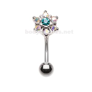 Silver Flower Prong Flower Gem Curved Barbell Eyebrow Rook Daith Ring 16ga Body Jewelry