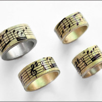 Music Notes ring antiqued by zanneavenue on Etsy