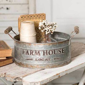 Farm House Local Vintage Style Tin Bin Tray Wood Handles Farmhouse Round Rustic