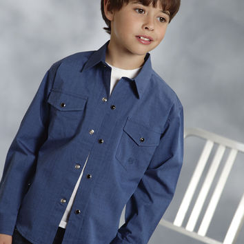 Roper Boys  Amarillo Denim Blues Long Sleeve Shirt Snap Closure - 2 Pocket