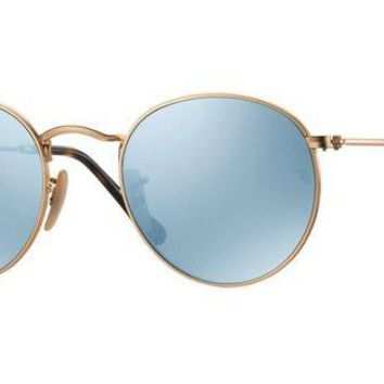 VLX85E Beauty Ticks Ray Ban Round Metal Sunglass Gold With Silver Mirrored Rb3447n 001/30